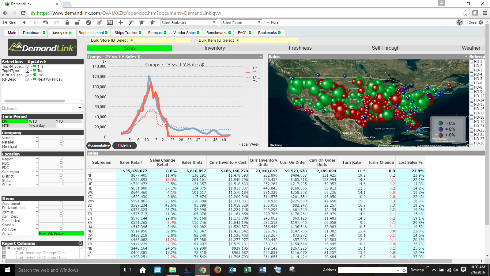 This screen capture shows a dashboard view of DemandLink with a line graph, a map of the United States with green, red and blue dots covering the map and a spreadshee with sales data