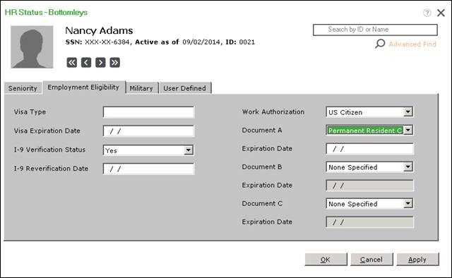 This image shows an employment eligibilty status screen in Sage HRMS